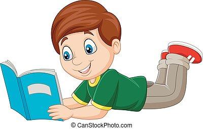 garçon, fixation, livre, lecture, dessin animé