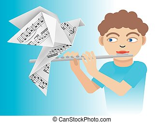 garçon, flûte, colombe, origami