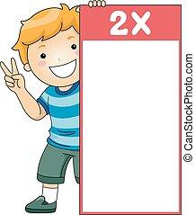 garçon, flash, deux, multiplication, table, carte, gosse