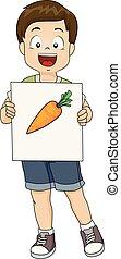 garçon, flash, illustration, carotte, carte, gosse
