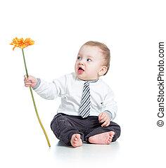 garçon, fleur blanche, isolé