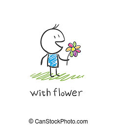 garçon, fleur