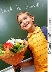 garçon, fleurs