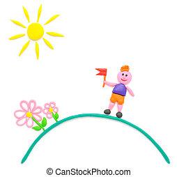 garçon, fleurs, soleil