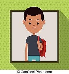 garçon, fond, cadre, sac, rouges, étudiant, ombre, afro, point