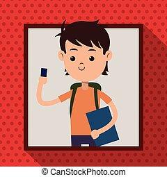 garçon, fond, mobile, cadre, téléphone, étudiant, ombre, point
