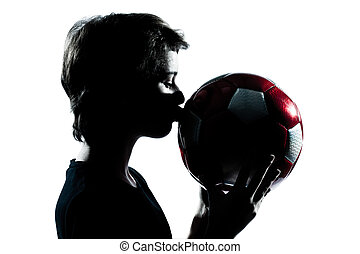 garçon, football, coupure, silhouette, girl, football, jeune, isolé, studio, adolescent, fond, baisers, portrait, blanc, une, dehors, ou, caucasien