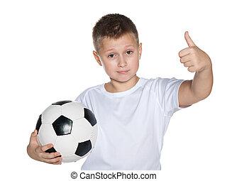 garçon, football, jeune, balle