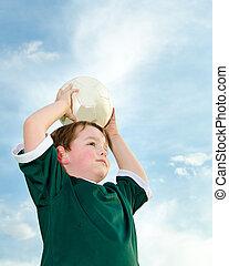 garçon, football, jeune, jouer
