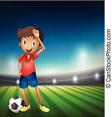 garçon, football, jeune, joueur