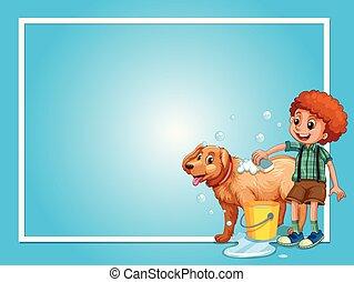 garçon, frontière, lavage, chien, gabarit