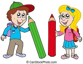 garçon, géant, crayons, girl