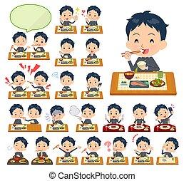 garçon, gakuran, repas, école