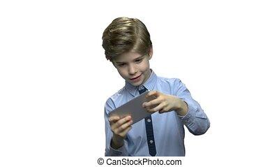 garçon, game., jouer, vidéo, caucasien, enfant
