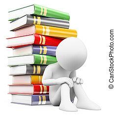 garçon, gens., échec, pile, 3d, books., école, blanc