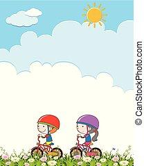 garçon, girl, équitation bicyclette