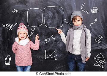garçon, girl, étudier, mathématiques