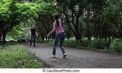garçon, girl, badminton, jouer