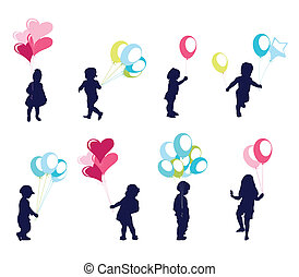 garçon, girl, balloon