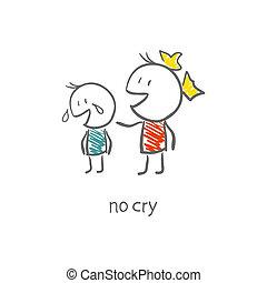 garçon, girl, consolé, pleurer