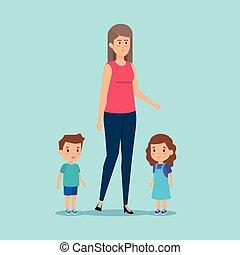 garçon, girl, dessin animé, mère