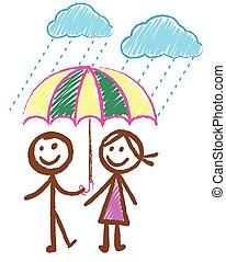 garçon, girl, doodles, pluie, image