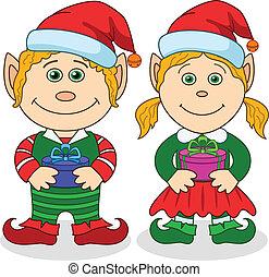 garçon, girl, elfes, noël