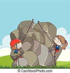 garçon, girl, escalade, rocher