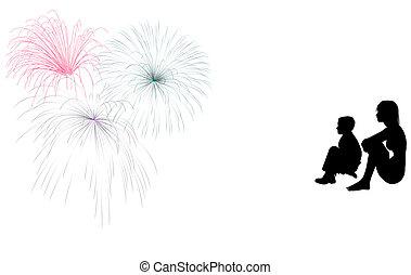 garçon, girl, feux artifice, silhouette