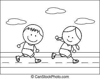 garçon, girl, jogging