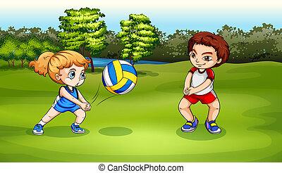 garçon, girl, jouer volleyball