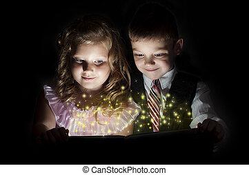 garçon, girl, livre, magie, découvrir