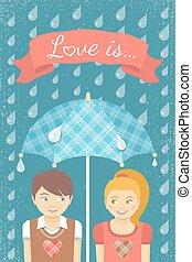 garçon, girl, parapluie, amour, sous