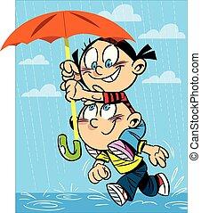 garçon, girl, parapluie, course