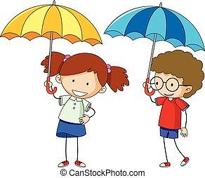 garçon, girl, parapluie, griffonnage