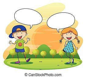 garçon, girl, parc, conversation