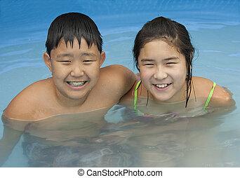 garçon, girl, piscine, natation