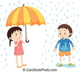 garçon, girl, pluie