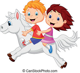 garçon, girl, poney, dessin animé, équitation