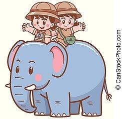 garçon, girl, safari