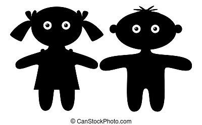 garçon, girl, silhouette, poupées