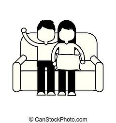 garçon, girl, sofa, séance