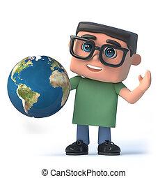 garçon, globe, tient, la terre, lunettes, 3d