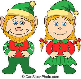garçon, gnomes, girl