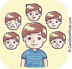 garçon, gosse, émotif, illustration, balançoire