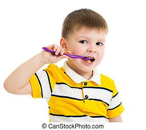 garçon, gosse, dents nettoyage