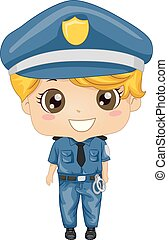 garçon, gosse, illustration, police, jour