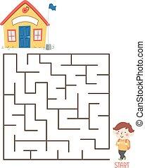 garçon, gosse, illustration, puzzle, école, labyrinthe