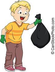 garçon, gosse, sac, déchets, plastique