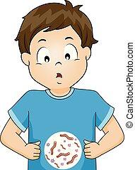 garçon, gosse, vers, illustration, intestinal